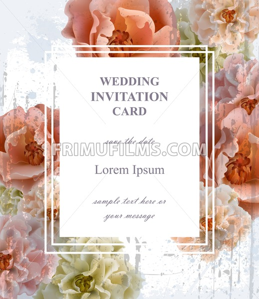 Wedding Invitation Card Vector Beautiful Floral Frame Vertical Banner Poster Template 3d Background