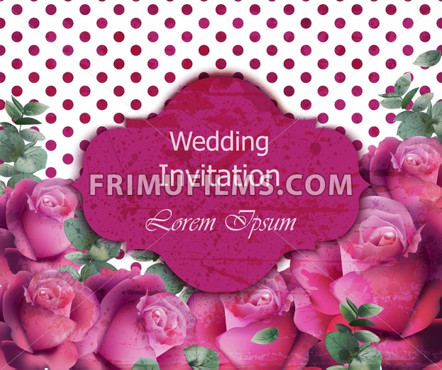 Wedding Invitation Card Vector Beautiful Roses Floral Frame Vertical Banner Poster Template 3d Background