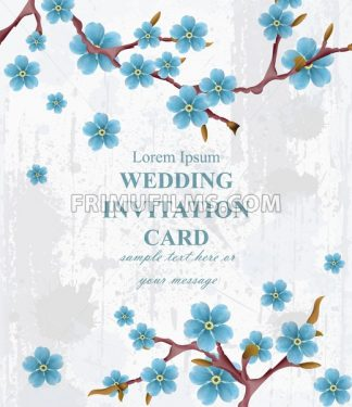 Wedding invitation card Vector. Blue spring flowers. Beautiful vertical floral frame 3d background - frimufilms.com