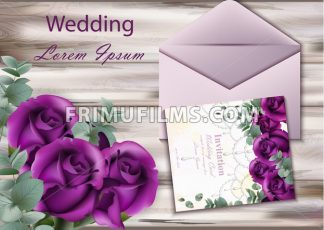Wedding invitation card Vector. Purple violet roses on wood background - frimufilms.com