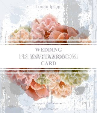 Wedding invitation card Vector. Vintage Beautiful floral decor. Banner poster template 3d background - frimufilms.com