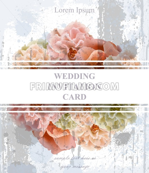 Wedding Invitation Card Vector Vintage Beautiful Floral Decor Banner Poster Template 3d Background