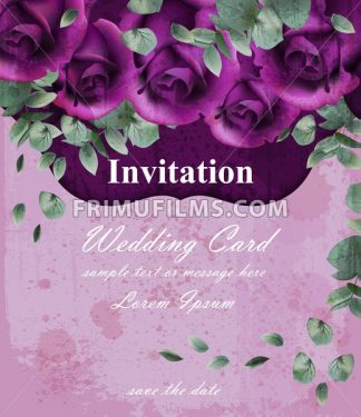 Wedding invitation card with purple violet roses decor design - frimufilms.com