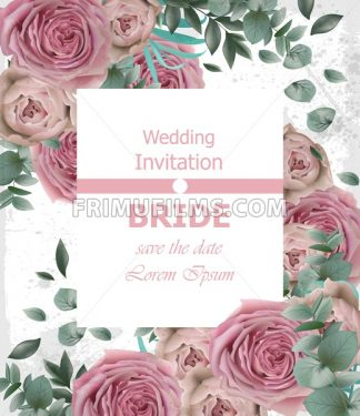 Wedding invitation with delicate pink roses Vector. Beautiful vertical card floral 3d background - frimufilms.com