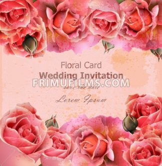 Wedding invitation with roses Vector. Beautiful card floral 3d background - frimufilms.com