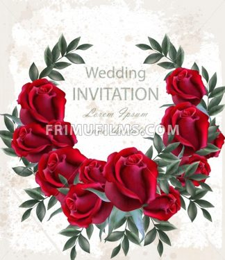 Wedding roses wreath Vector. Beautiful red flowers garland. Invitation card elegant decor realistic 3d bouquet - frimufilms.com