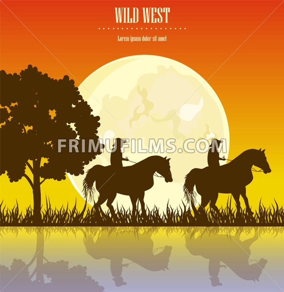 Wild West sunset Vector illustration. Cowboy Men horse riding at sunset Vintage west card - frimufilms.com