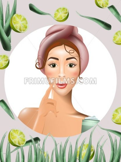 Woman using cream lotion on her face Vector. Realistic beauty product. Icon template design packaging mock up - frimufilms.com
