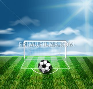A soccer ball on the green stadium Vector 3d realistic illustration - frimufilms.com