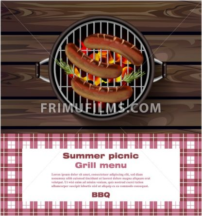 BBQ grill on wooden background. Hot sausages Summer picnic template Vector illustration - frimufilms.com