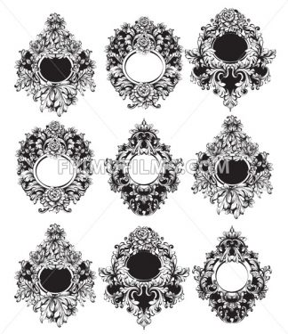Baroque Round Frame Vector. Classic rich ornamented carved decors. Rococo sophisticated design - frimufilms.com