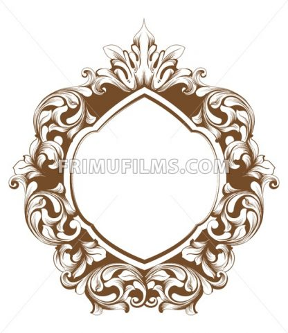 Baroque frame line art. Vector French Luxury rich intricate ornaments. Victorian Royal Style decor - frimufilms.com