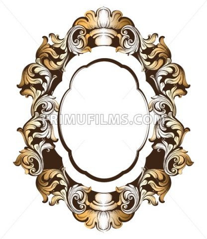 Baroque golden mirror frame. Vector French Luxury rich intricate ornaments. Victorian Royal Style decor - frimufilms.com