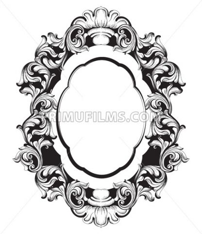 Baroque mirror frame line art. Vector French Luxury rich intricate ornaments. Victorian Royal Style decor - frimufilms.com