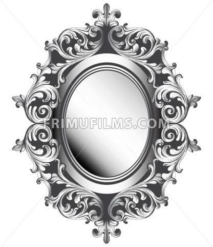 Baroque silver mirror frame. Vector French Luxury rich intricate ornaments. Victorian Royal Style decor - frimufilms.com