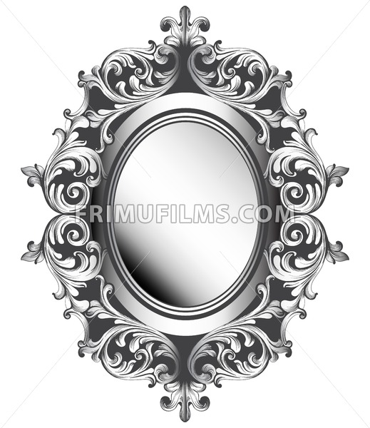 Baroque silver mirror frame vector french luxury rich - Espejos marco plateado ...