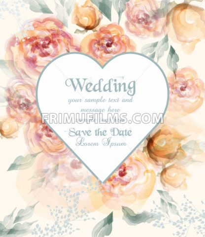 Beautiful heart shape wedding card with watercolor flowers Vector. Vintage roses bouquet illustration - frimufilms.com