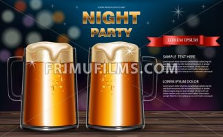 Beer mugs Vector realistic. Party flyer with drinks 3d mock up illustration - frimufilms.com