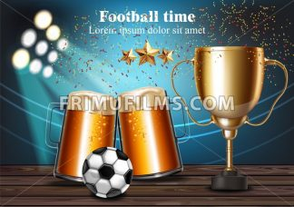 Beer mugs and Football cup on the stadium Vector. Winner champion concept - frimufilms.com