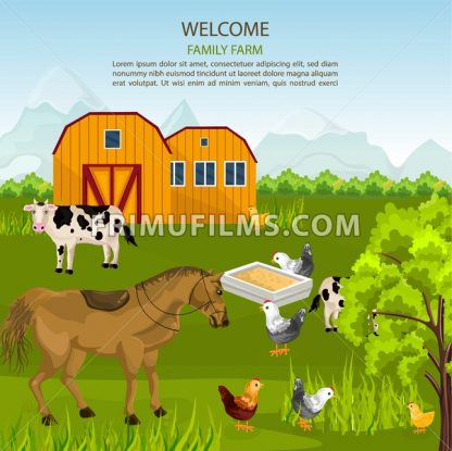 Big Family farm Vector. Cows, horse, chicken on green summer background illustration - frimufilms.com
