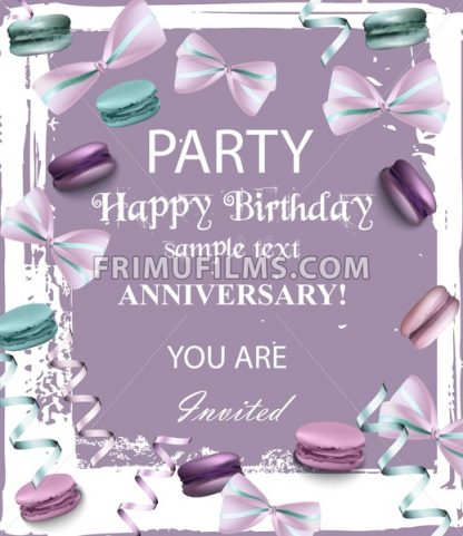 Birthday party invitation Vector. Flowers and macaroons over vintage background. trendy lavender color - frimufilms.com