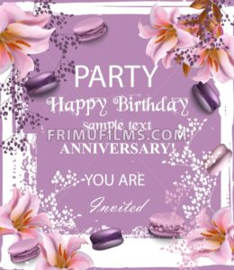 Birthday party invitation Vector. Flowers and macaroons over vintage background. trendy lilac color - frimufilms.com