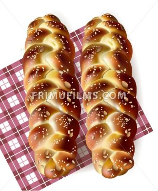Bread realistic Vector. Tasty baked goods on gingham pattern. detailed 3d illustration - frimufilms.com