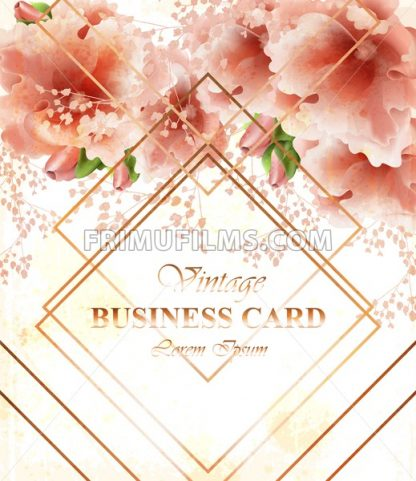 Business card with beautiful delicate pink flowers. Golden abstract frames stylish card - frimufilms.com