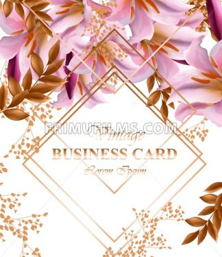 Business card with beautiful pink flowers. Golden abstract frames stylish card - frimufilms.com