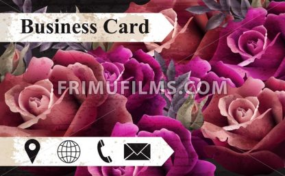Business card with colorful realistic roses Vector. icons template. Beautiful background - frimufilms.com