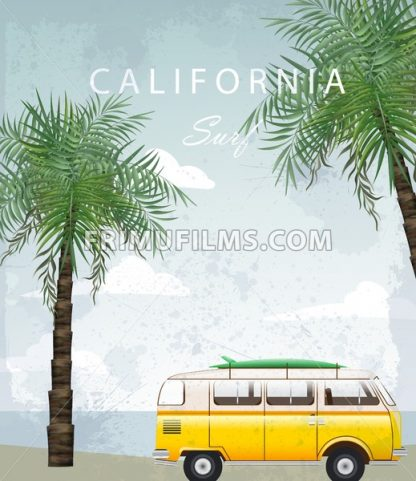 California Summer Travel card with camping car Vector. Camping trailer on palm trees background - frimufilms.com