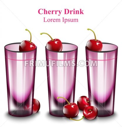 Cherry cocktail drinks Vector illustration pink glasses isolated - frimufilms.com