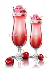 Cherry cocktail drinks Vector. Fresh smoothie in pink glasses illustration - frimufilms.com