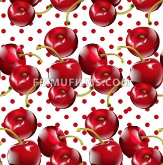 Cherry pattern Vector. Cherry fruits on Dotted background - frimufilms.com