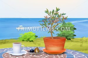 Coffee and olive tree at summer sea background Vector illustration - frimufilms.com