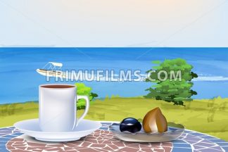 Coffee and oriental sweets on summer sea background Vector illustration - frimufilms.com
