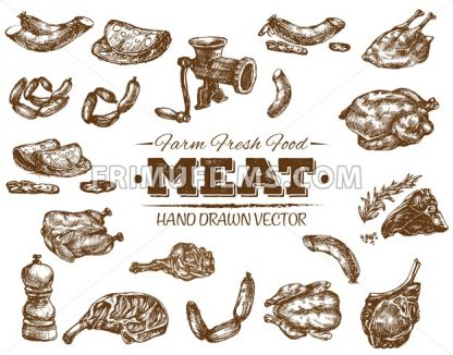Collection 1 of hand drawn meat sketch, black and white vintage illustration - frimufilms