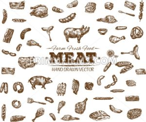 Collection 10 of hand drawn meat sketch, black and white vintage illustration - frimufilms