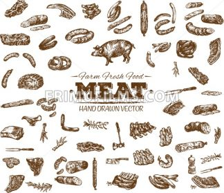 Collection 11 of hand drawn meat sketch, black and white vintage illustration - frimufilms