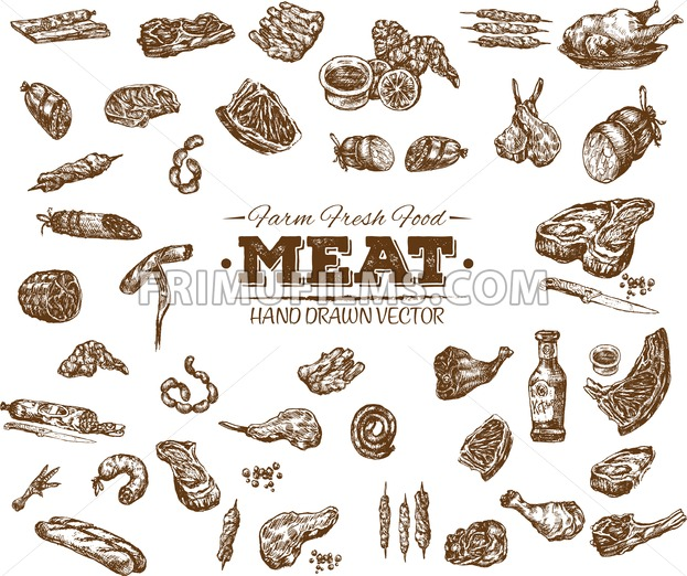 Collection 12 of hand drawn meat sketch, black and white vintage illustration - frimufilms