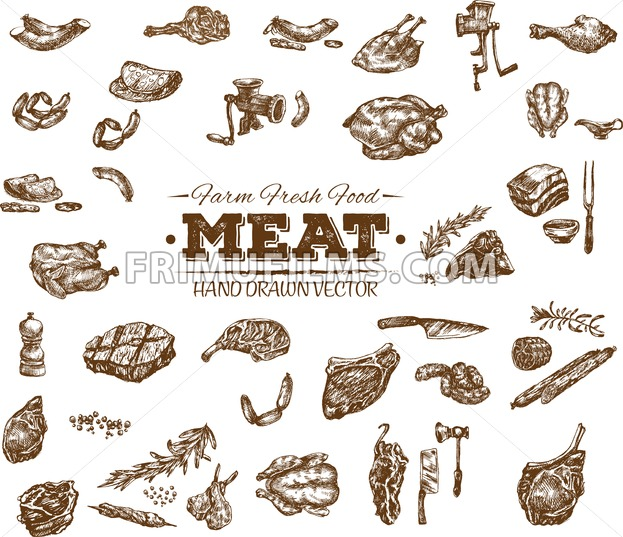 Collection 13 of hand drawn meat sketch, black and white vintage illustration - frimufilms