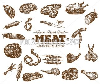 Collection 3 of hand drawn meat sketch, black and white vintage illustration - frimufilms