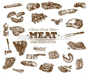 Collection 4 of hand drawn meat sketch, black and white vintage illustration - frimufilms