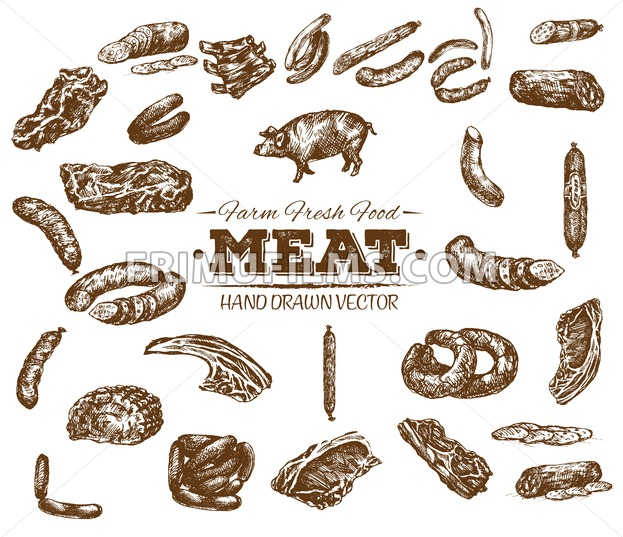 Collection 5 of hand drawn meat sketch, black and white vintage illustration - frimufilms