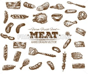 Collection 6 of hand drawn meat sketch, black and white vintage illustration - frimufilms