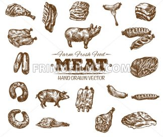 Collection 7 of hand drawn meat sketch, black and white vintage illustration - frimufilms