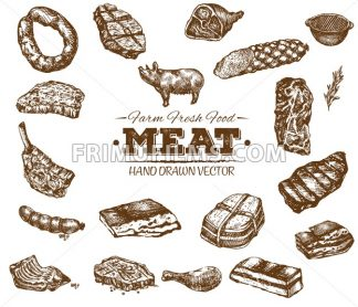 Collection 8 of hand drawn meat sketch, black and white vintage illustration - frimufilms