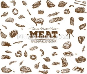 Collection 9 of hand drawn meat sketch, black and white vintage illustration - frimufilms