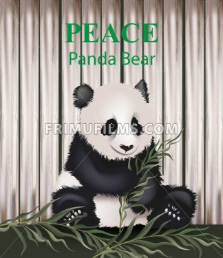 Cute panda bear Vector. Lovely animal eating grass. Peace message text - frimufilms.com