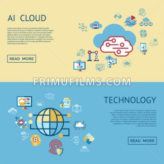 Digital vector artificial intelligence cloud icons set infographics - frimufilms.com